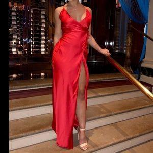 8054683e0a4 House of CB Dresses - House of CB Red Satin Wrap Maxi Dress